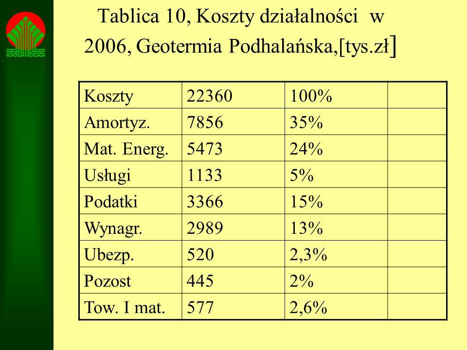Tablica 10, Koszty działalności w 2006, Geotermia Podhalańska,[tys.zł]